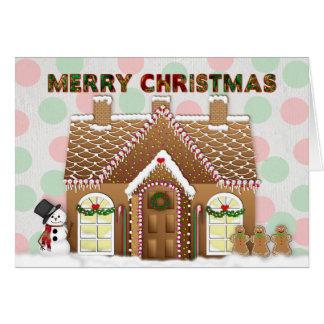 Tarjeta Navidad de la casa de pan de jengibre que saluda