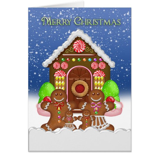 Tarjeta Navidad de la casa de pan de jengibre y de la
