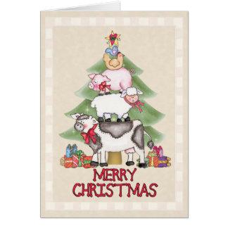 Tarjeta Navidad de la granja del país