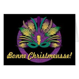 Tarjeta Navidad de la máscara del carnaval - franceses de