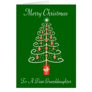 Tarjeta Navidad de la nieta del árbol de navidad