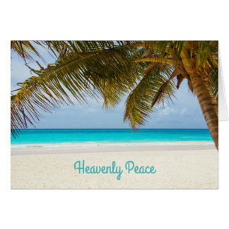Tarjeta Navidad de la playa de la palmera divina de la paz