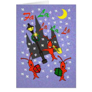 Tarjeta Navidad de los cangrejos de New Orleans Caroling