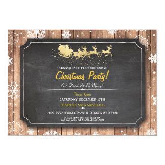 Tarjeta Navidad de madera de la nieve de Santa del fiesta