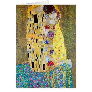 Tarjeta Navidad de Nouveau del arte, el beso de Gustavo