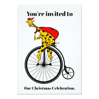 Tarjeta Navidad de Papá Noel de la jirafa