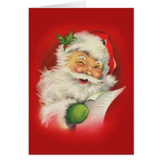 Tarjeta Navidad de Papá Noel del vintage
