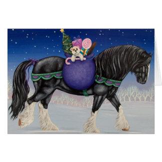 Tarjeta Navidad del caballo de proyecto del condado