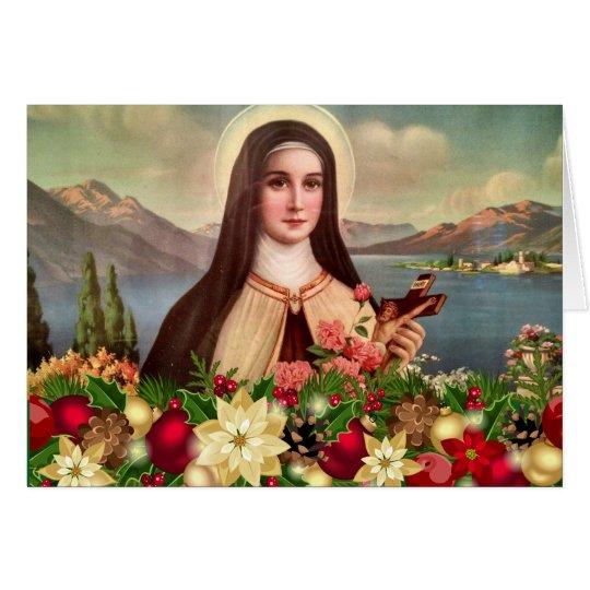 Tarjeta Navidad del crucifijo de los rosas del St. Teresa