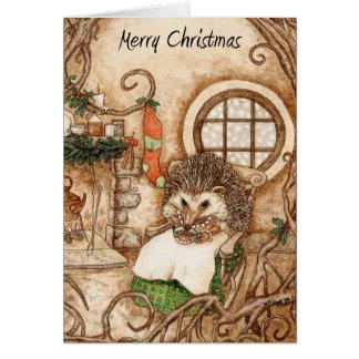 Tarjeta Navidad del erizo - parte 1