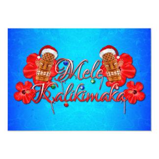 Tarjeta Navidad del Hawaiian de Mele Kalikimaka Tiki