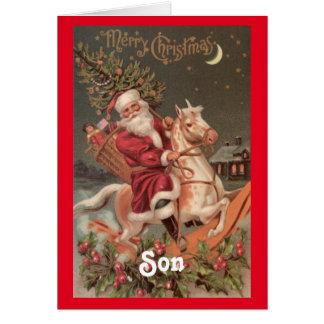 Tarjeta Navidad del hijo de Santa del vintage