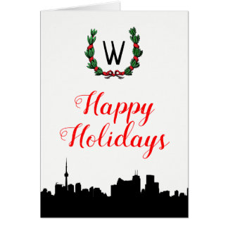 Tarjeta Navidad del horizonte de Toronto buenas fiestas