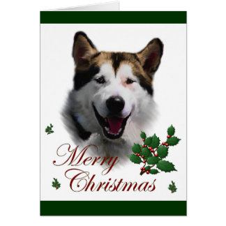 Tarjeta Navidad del Malamute de Alaska