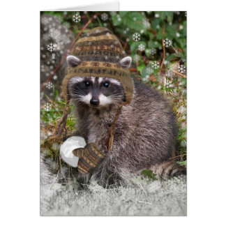 Tarjeta Navidad del mapache