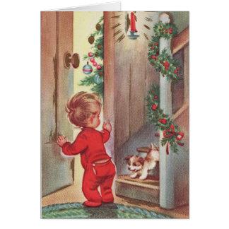 Tarjeta Navidad del niño y del perrito del vintage