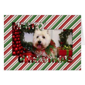 Tarjeta Navidad del oeste Photocard de Terrier de la