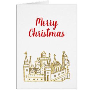 Tarjeta Navidad del oro del escudo heráldico del castillo