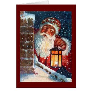 Tarjeta Navidad del padre de Papá Noel del vintage en