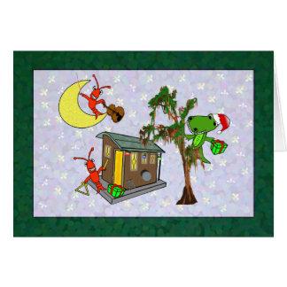 Tarjeta Navidad del pantano de Cajun del cocodrilo de