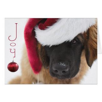 Tarjeta Navidad del perrito de Leonberger