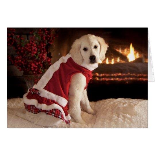 Tarjeta Navidad del perrito del golden retriever y Años