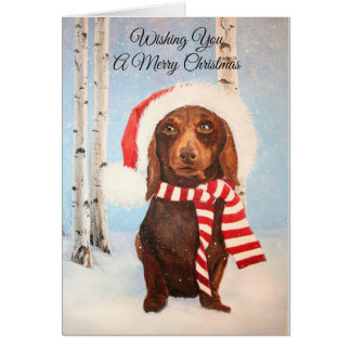 Tarjeta Navidad del perro del Dachshund de Santa que