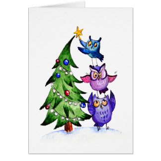 Tarjeta Navidad del ` s del búho