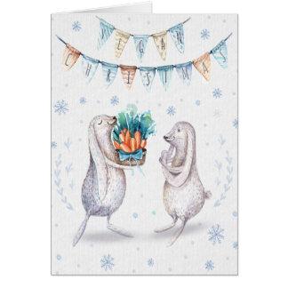 Tarjeta Navidad del vegano que saluda/conejos