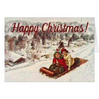Tarjeta Navidad del Victorian Nevado del vintage por el