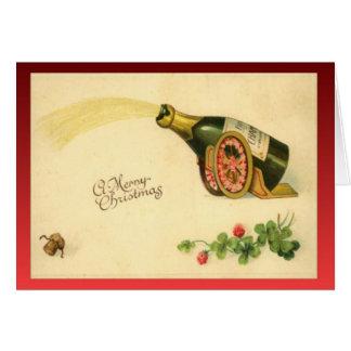 Tarjeta Navidad del vintage de la reproducción, botella de