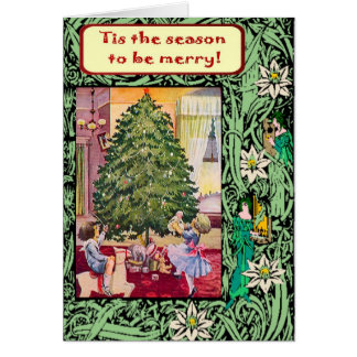 Tarjeta Navidad del vintage, niños de Edwardian