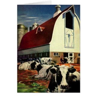 Tarjeta Navidad del vintage, vacas lecheras con el granero