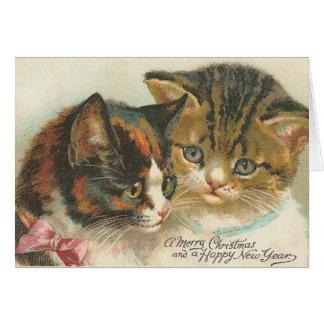 Tarjeta Navidad del vintage y gatos del Año Nuevo