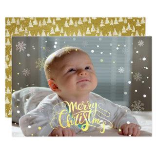 Tarjeta Navidad descendente Photocard de la nieve del
