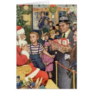 Tarjeta Navidad deseo, muchacho del vintage en el