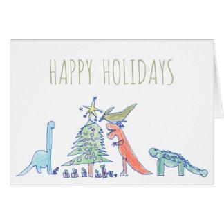 Tarjeta Navidad dibujado mano divertida de T-Rex del