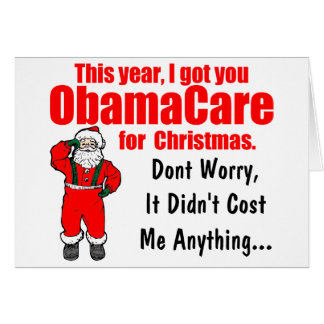 Tarjeta Navidad divertido de ObamaCare que saluda