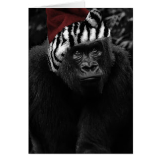 Tarjeta Navidad divertido del gorila