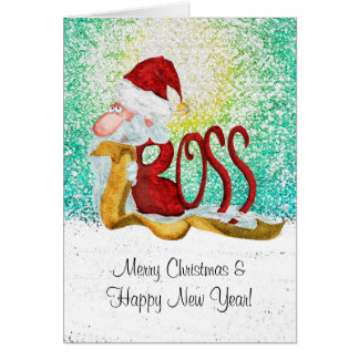 Tarjeta Navidad divertido del jefe de Santa