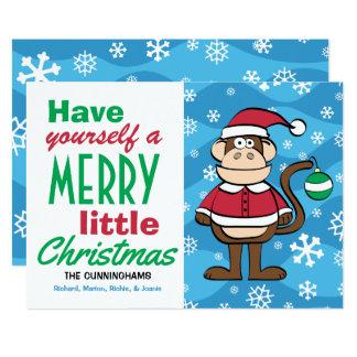 Tarjeta Navidad divertido del mono de Santa