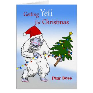 Tarjeta ¿Navidad divertido para Boss, es usted Yeti