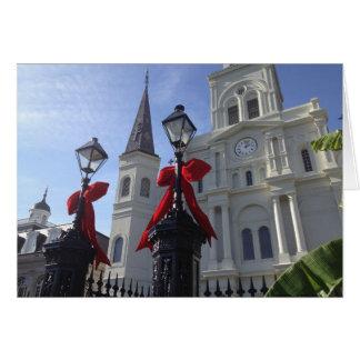 Tarjeta Navidad en la catedral de St. Louis, New Orleans