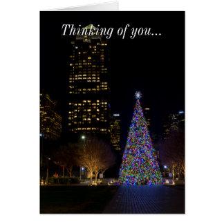 Tarjeta Navidad en la noche del parque de Warren