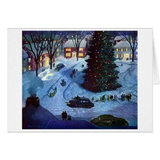 Tarjeta Navidad en la plaza