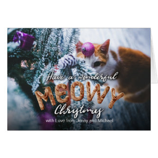 Tarjeta Navidad festivo de Meowy de la diversión peluda