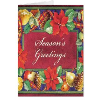 Tarjeta Navidad floral del vintage del Poinsettia
