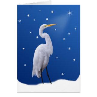 Tarjeta Navidad, gran Egret y estrella