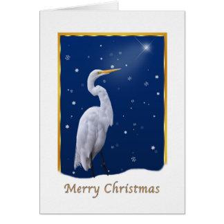 Tarjeta Navidad, gran pájaro del Egret, estrella,