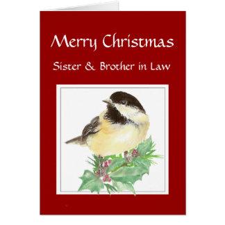 Tarjeta Navidad hermana, cuñado, pájaro del Chickadee